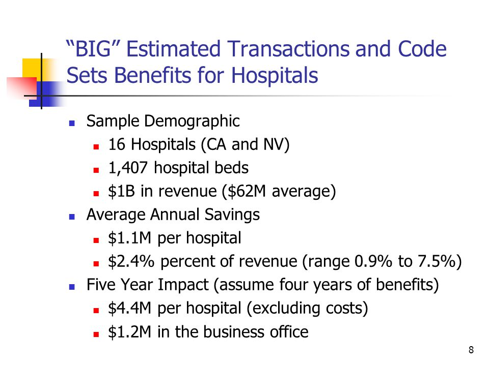 9 BIG Estimated Transactions and Code Sets Benefits for 16 Hospitals Business Operations Savings Areas Business Office Benefit Sources Increased electronic claims Electronic remittance Eligibility (registration) Improve Collections Policy and Practice