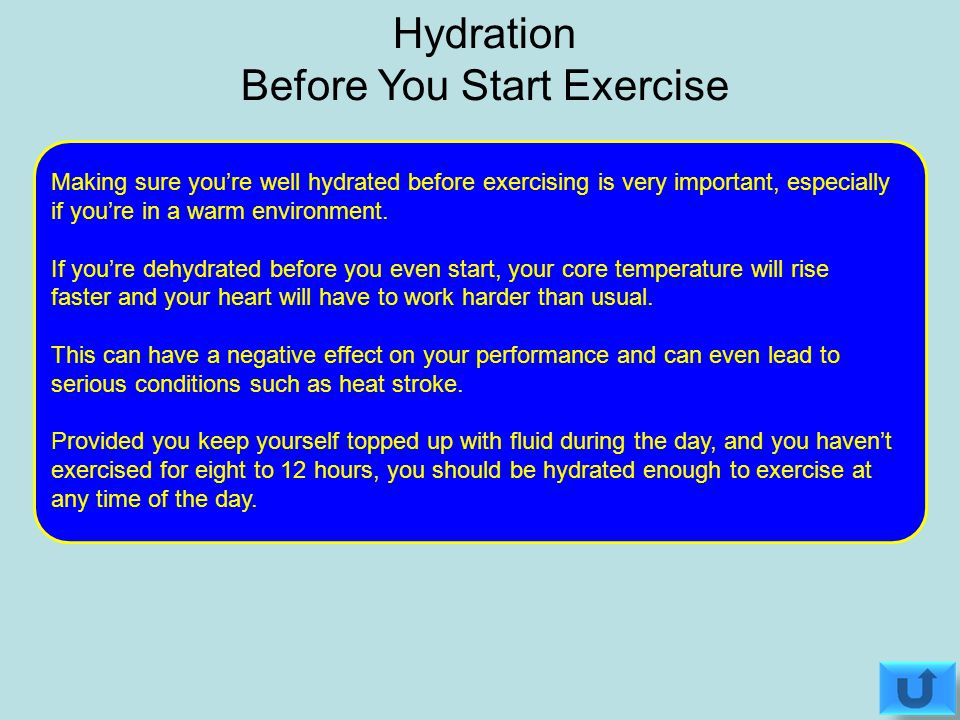 If you're even just a little dehydrated, it can have a negative effect on your performance so it's important to keep an eye on your fluid levels.