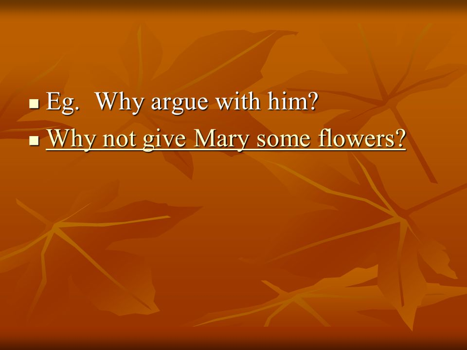 Eg. Why argue with him? Eg. Why argue with him? Why not give Mary some flowers? Why not give Mary some flowers? Why not give Mary some flowers? Why no