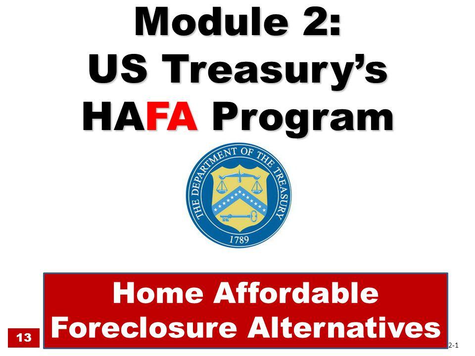 Module 2: US Treasury's HAFA Program Home Affordable Foreclosure Alternatives 13 2-1