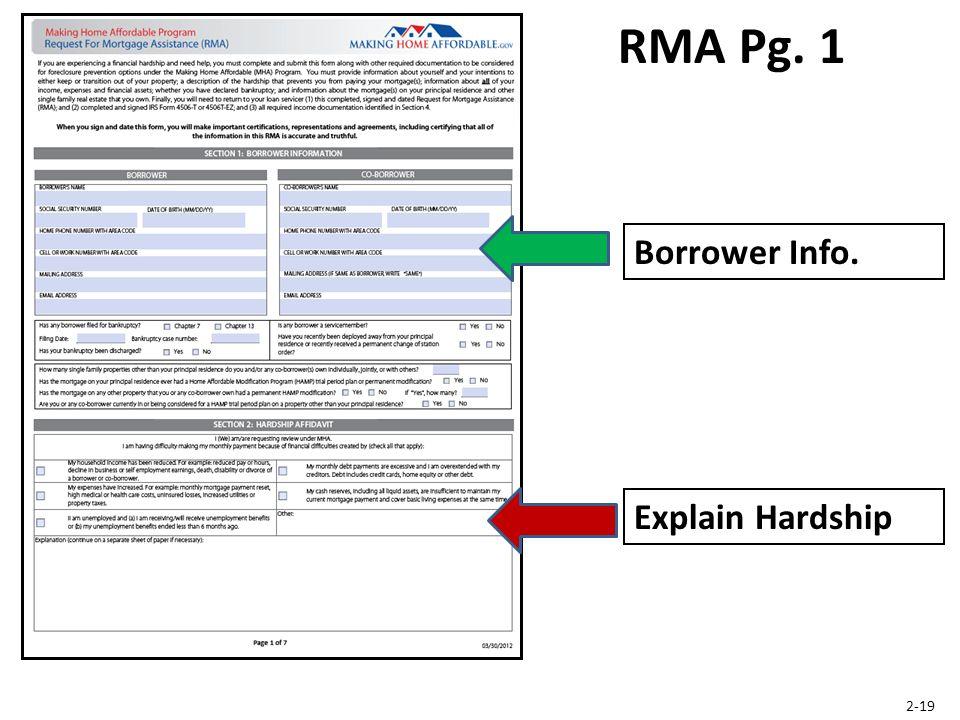 RMA Pg. 1 Explain Hardship 2-19 Borrower Info.
