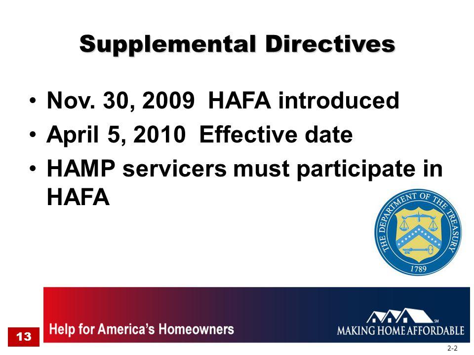 Supplemental Directives Nov. 30, 2009 HAFA introduced April 5, 2010 Effective date HAMP servicers must participate in HAFA 13 2-2