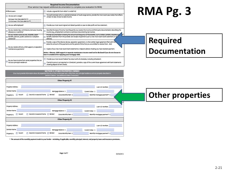 Required Documentation RMA Pg. 3 Other properties 2-21
