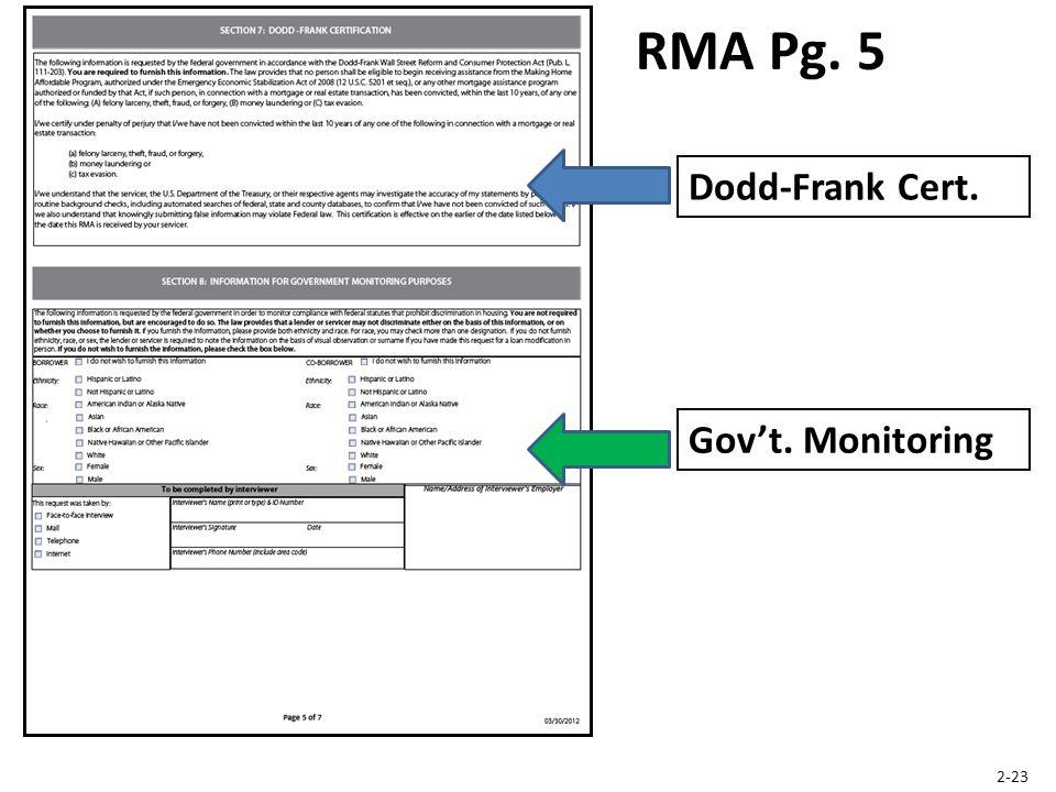 Dodd-Frank Cert. RMA Pg. 5 Gov't. Monitoring 2-23