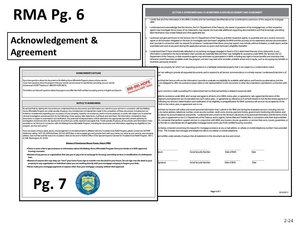 RMA Pg. 6 Acknowledgement & Agreement 2-24 Pg. 7
