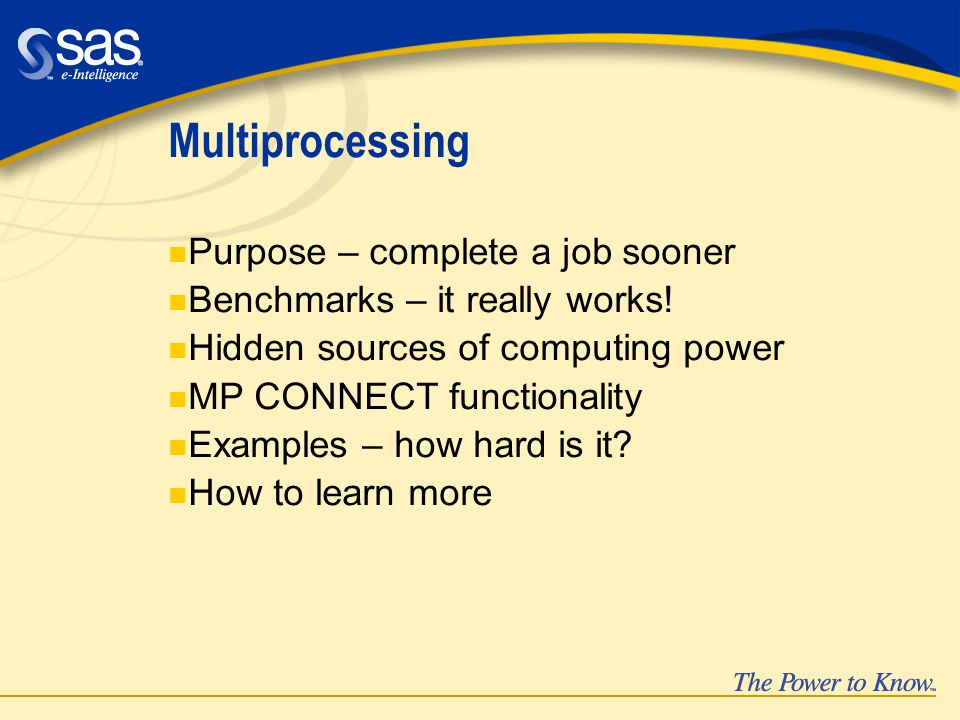 Multiprocessing n Purpose – complete a job sooner n Benchmarks – it really works.
