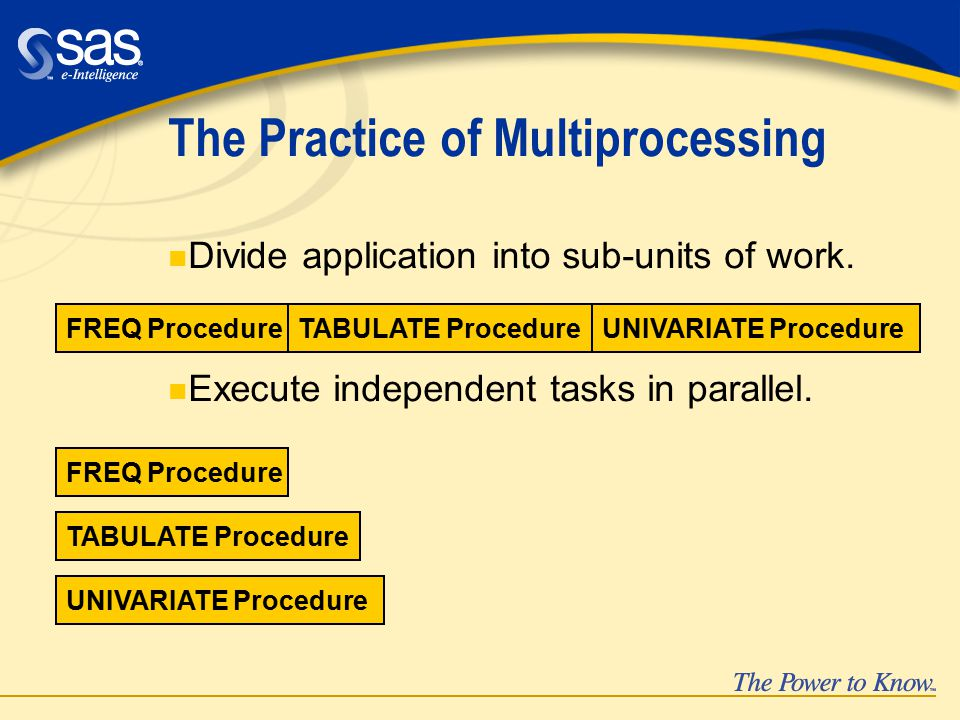 The Practice of Multiprocessing n Divide application into sub-units of work.