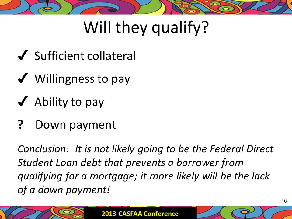 Will they qualify. ✔ Sufficient collateral ✔ Willingness to pay ✔ Ability to pay .