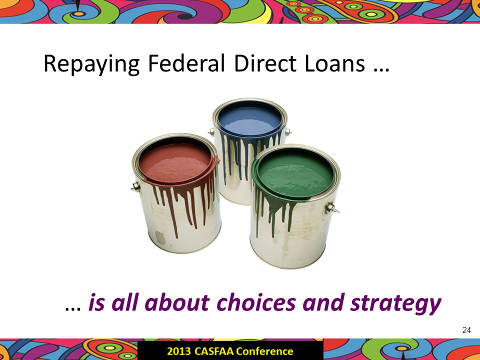 Repaying Federal Direct Loans … … is all about choices and strategy 24