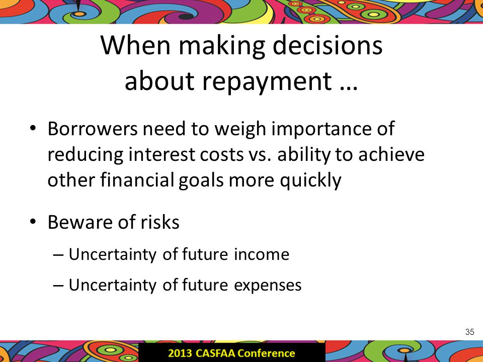 When making decisions about repayment … Borrowers need to weigh importance of reducing interest costs vs.