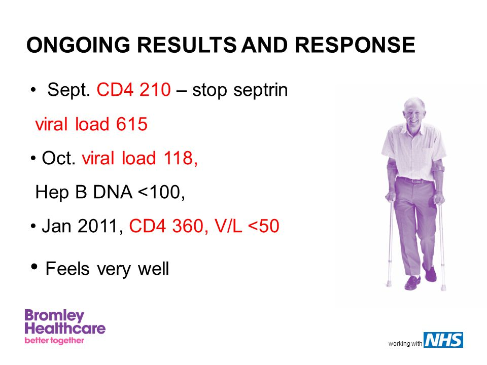 working with ONGOING RESULTS AND RESPONSE Sept. CD4 210 – stop septrin viral load 615 Oct.
