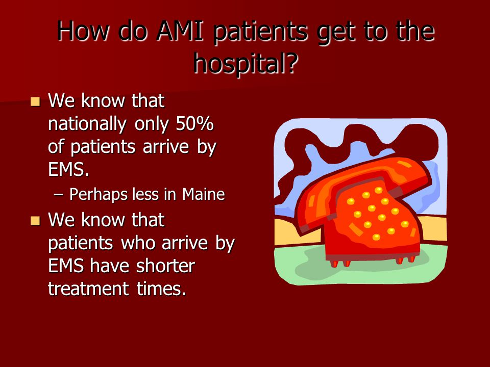 How do AMI patients get to the hospital? We know that nationally only 50% of patients arrive by EMS. We know that nationally only 50% of patients arri