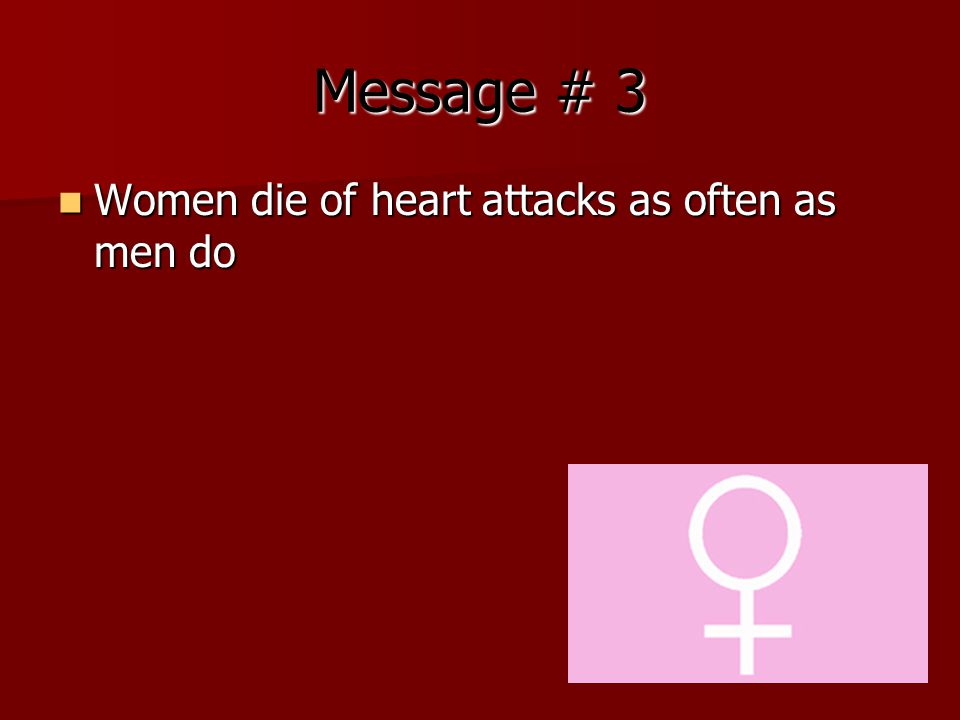 Message # 3 Women die of heart attacks as often as men do Women die of heart attacks as often as men do