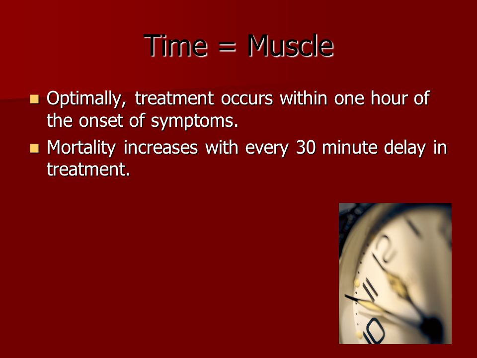Time = Muscle Optimally, treatment occurs within one hour of the onset of symptoms. Optimally, treatment occurs within one hour of the onset of sympto
