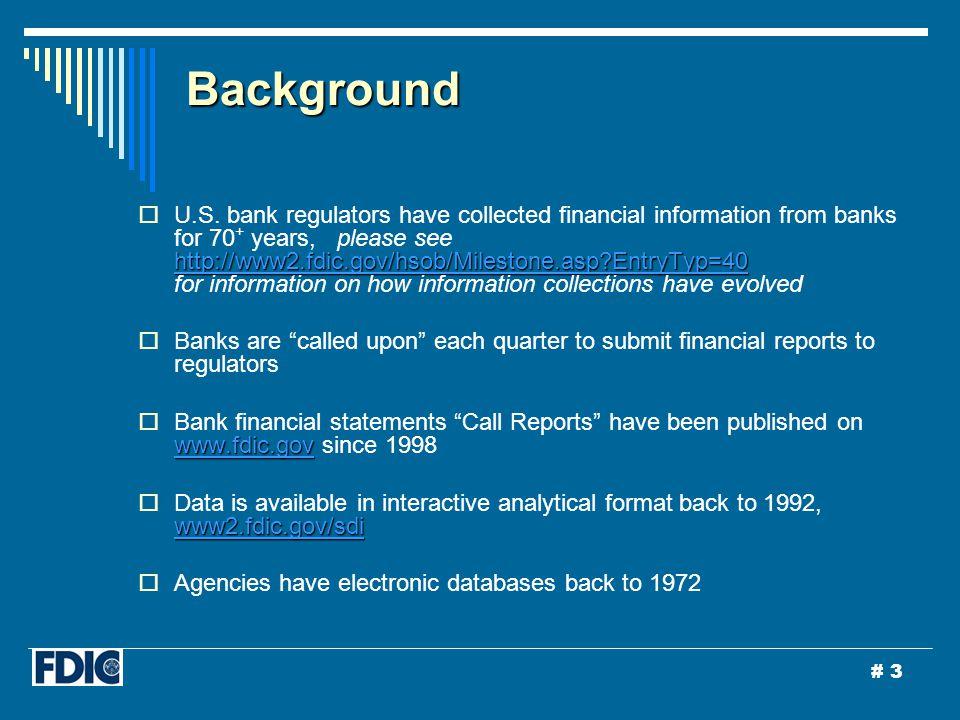 # 3 Background http://www2.fdic.gov/hsob/Milestone.asp EntryTyp=40 http://www2.fdic.gov/hsob/Milestone.asp EntryTyp=40  U.S.