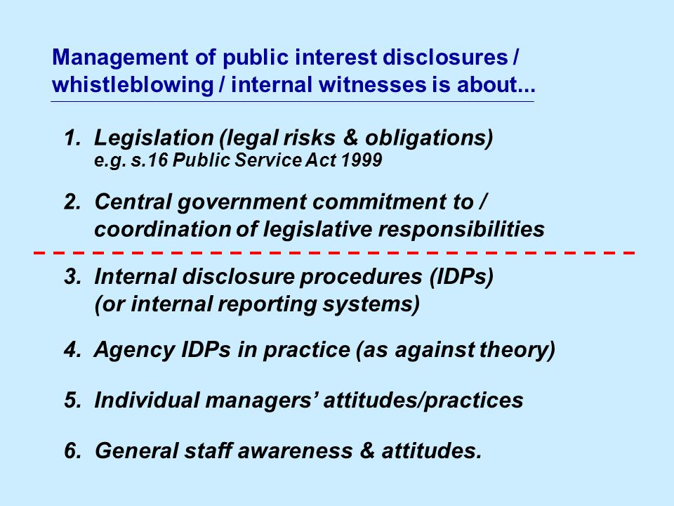 1. Legislation (legal risks & obligations) e.g. s.16 Public Service Act 1999 2.