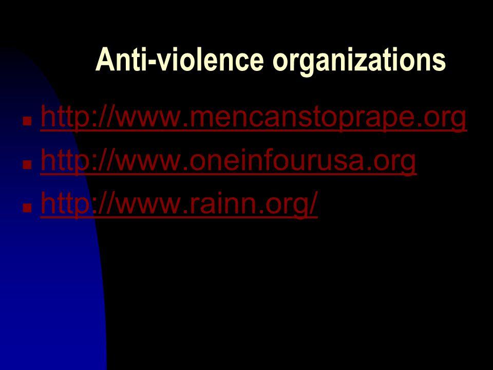 Anti-violence organizations n http://www.mencanstoprape.org http://www.mencanstoprape.org n http://www.oneinfourusa.org http://www.oneinfourusa.org n http://www.rainn.org/ http://www.rainn.org/