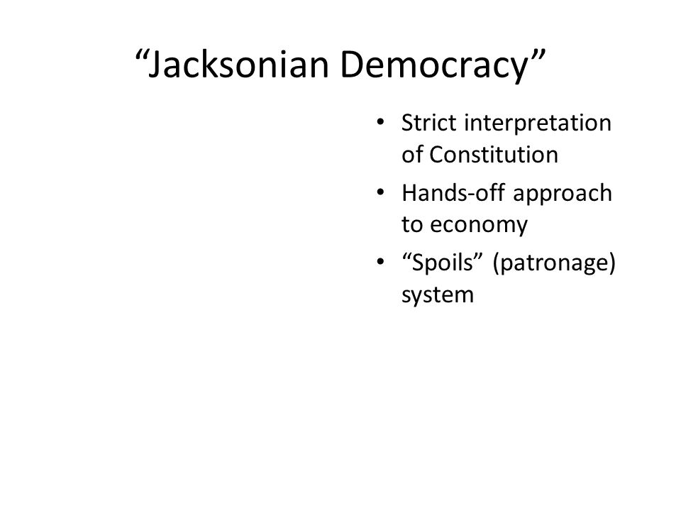 Jacksonian Democracy (continued) Manifest Destiny Indian relocation Increased suffrage for white men President for the common man As long as our government is administered for the good of the people, and is regulated by their will; as long as it secures to use the rights of persons and of property, liberty of conscience and of the press, it will be worth defending. —Andrew Jackson