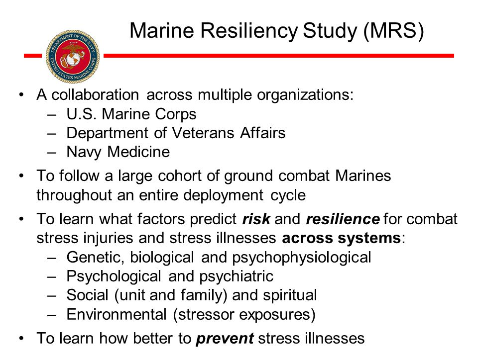 Marine Resiliency Study (MRS) A collaboration across multiple organizations: –U.S.