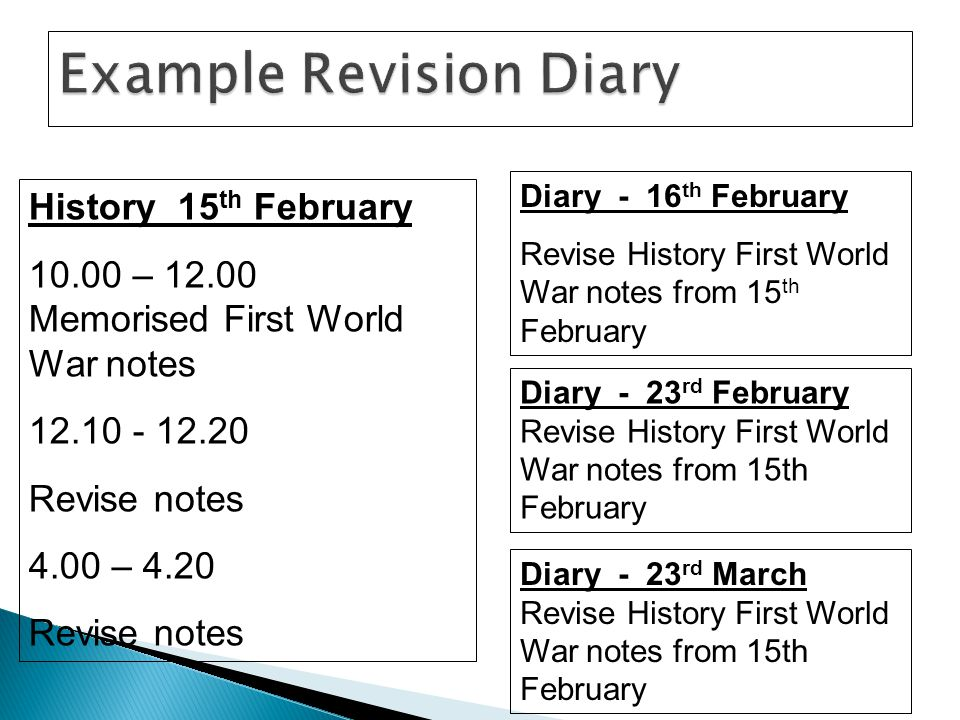 History 15 th February 10.00 – 12.00 Memorised First World War notes 12.10 - 12.20 Revise notes 4.00 – 4.20 Revise notes Diary - 16 th February Revise History First World War notes from 15 th February Diary - 23 rd February Revise History First World War notes from 15th February Diary - 23 rd March Revise History First World War notes from 15th February