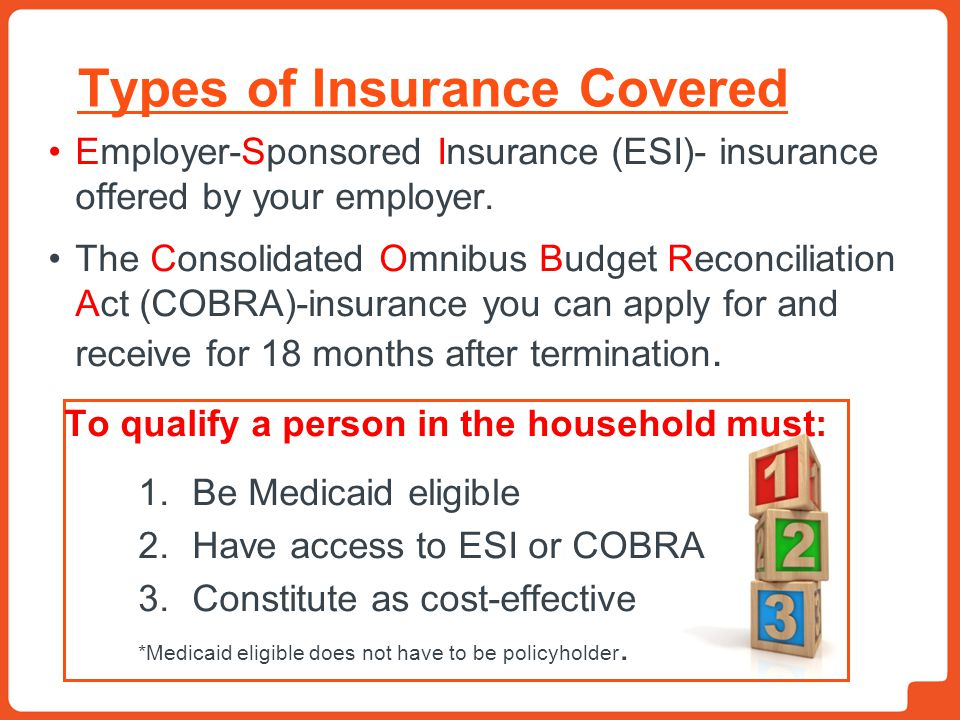 Types of Insurance Covered Employer-Sponsored Insurance (ESI)- insurance offered by your employer. The Consolidated Omnibus Budget Reconciliation Act