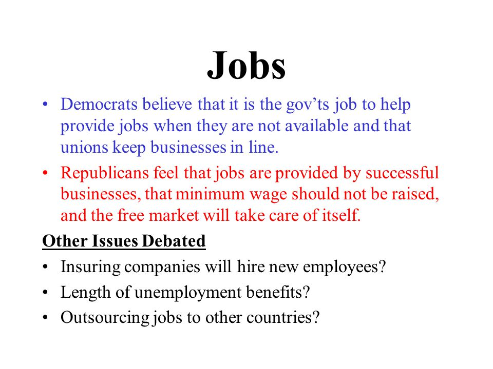 Jobs Democrats believe that it is the gov'ts job to help provide jobs when they are not available and that unions keep businesses in line.