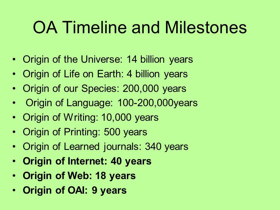 OA Timeline and Milestones Origin of the Universe: 14 billion years Origin of Life on Earth: 4 billion years Origin of our Species: 200,000 years Orig