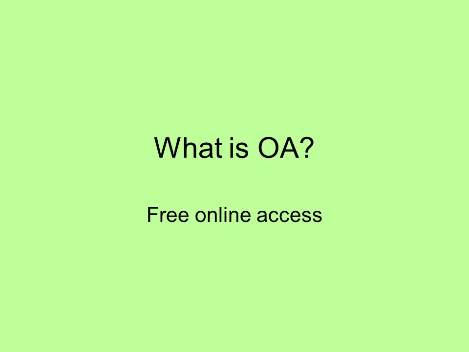 What is OA Free online access