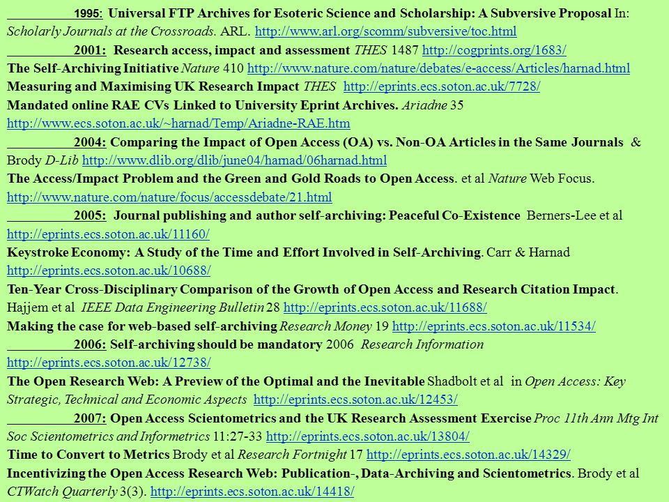 1995: Universal FTP Archives for Esoteric Science and Scholarship: A Subversive Proposal In: Scholarly Journals at the Crossroads. ARL. http://www.arl