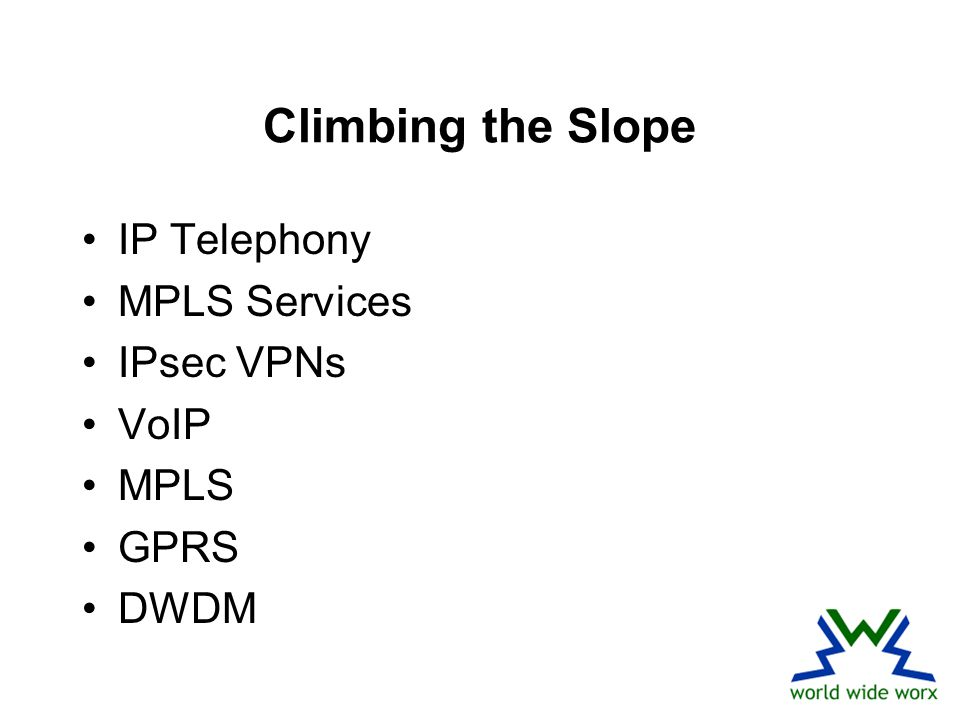 Climbing the Slope IP Telephony MPLS Services IPsec VPNs VoIP MPLS GPRS DWDM