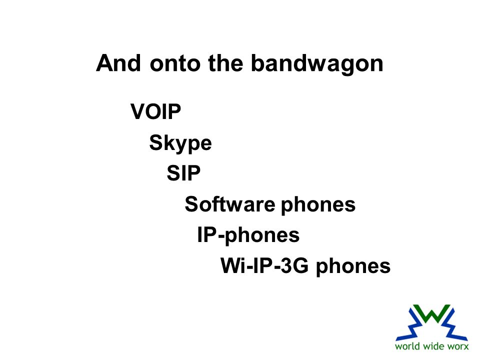 And onto the bandwagon VOIP Skype SIP Software phones IP-phones Wi-IP-3G phones