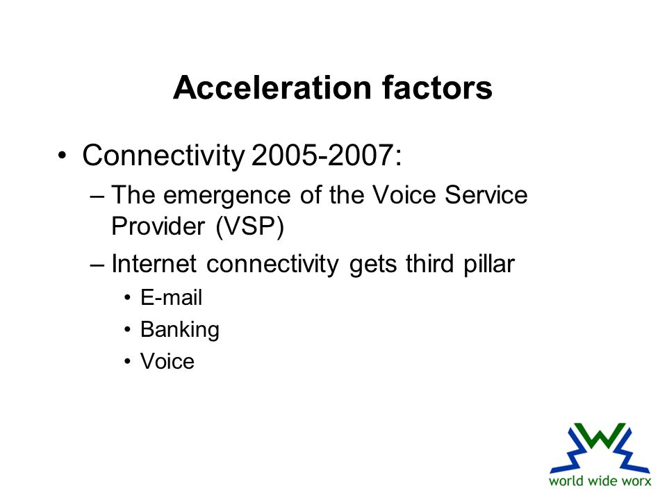 Acceleration factors Connectivity 2005-2007: –The emergence of the Voice Service Provider (VSP) –Internet connectivity gets third pillar E-mail Banking Voice