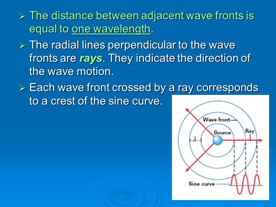  The distance between adjacent wave fronts is equal to one wavelength.  The radial lines perpendicular to the wave fronts are rays. They indicate th