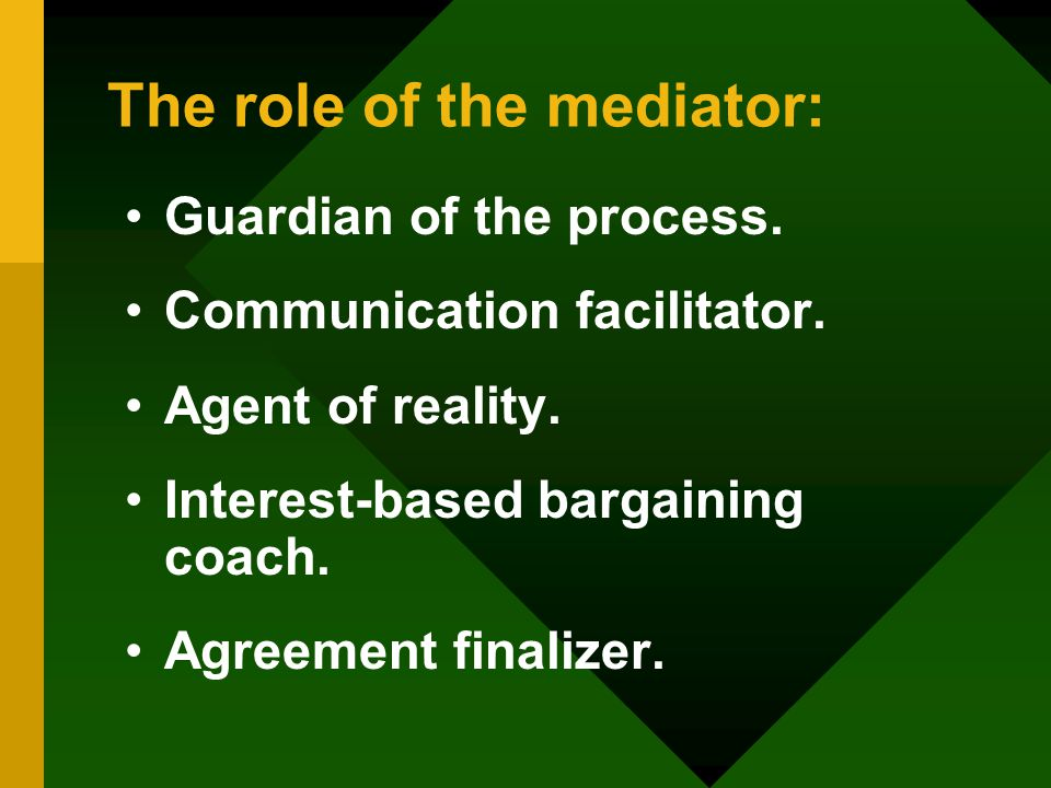 The role of the mediator: Guardian of the process.