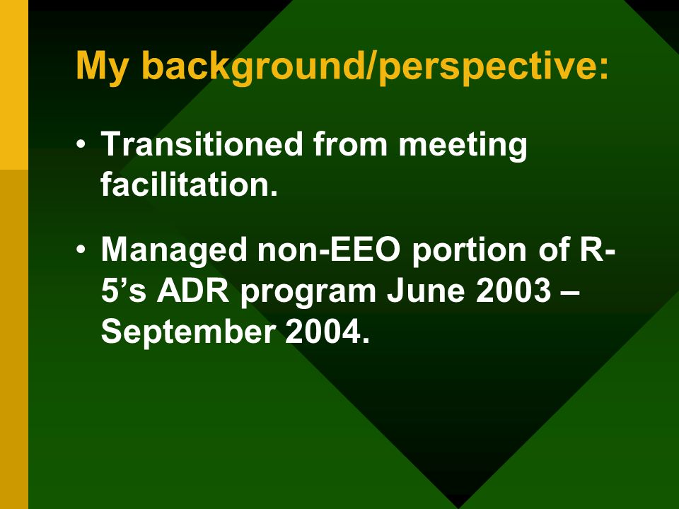 My background/perspective: Transitioned from meeting facilitation.