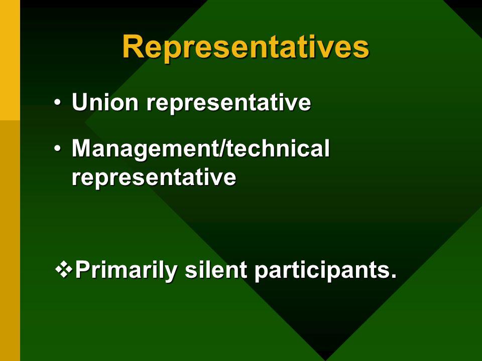 Representatives Union representativeUnion representative Management/technical representativeManagement/technical representative  Primarily silent participants.