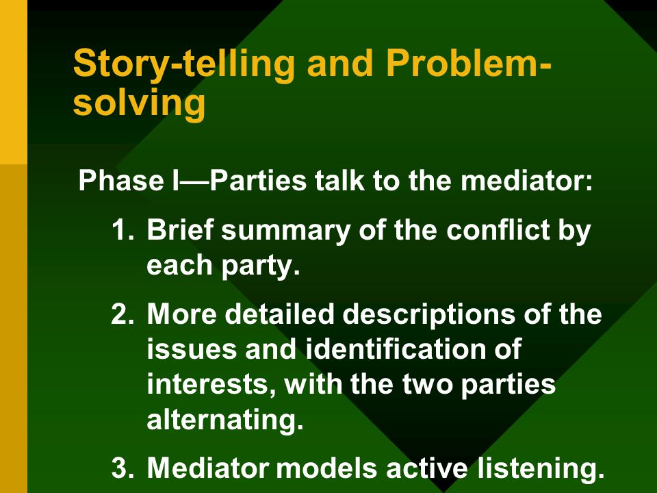 Story-telling and Problem- solving Phase I—Parties talk to the mediator: 1.Brief summary of the conflict by each party.