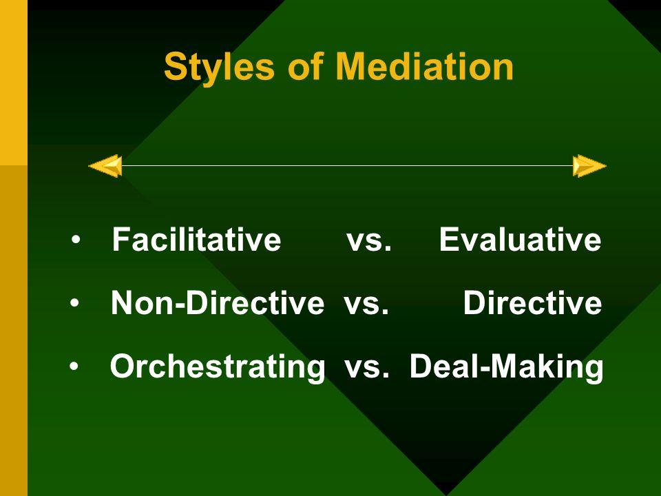 Styles of Mediation Facilitative vs. Evaluative Non-Directive vs.