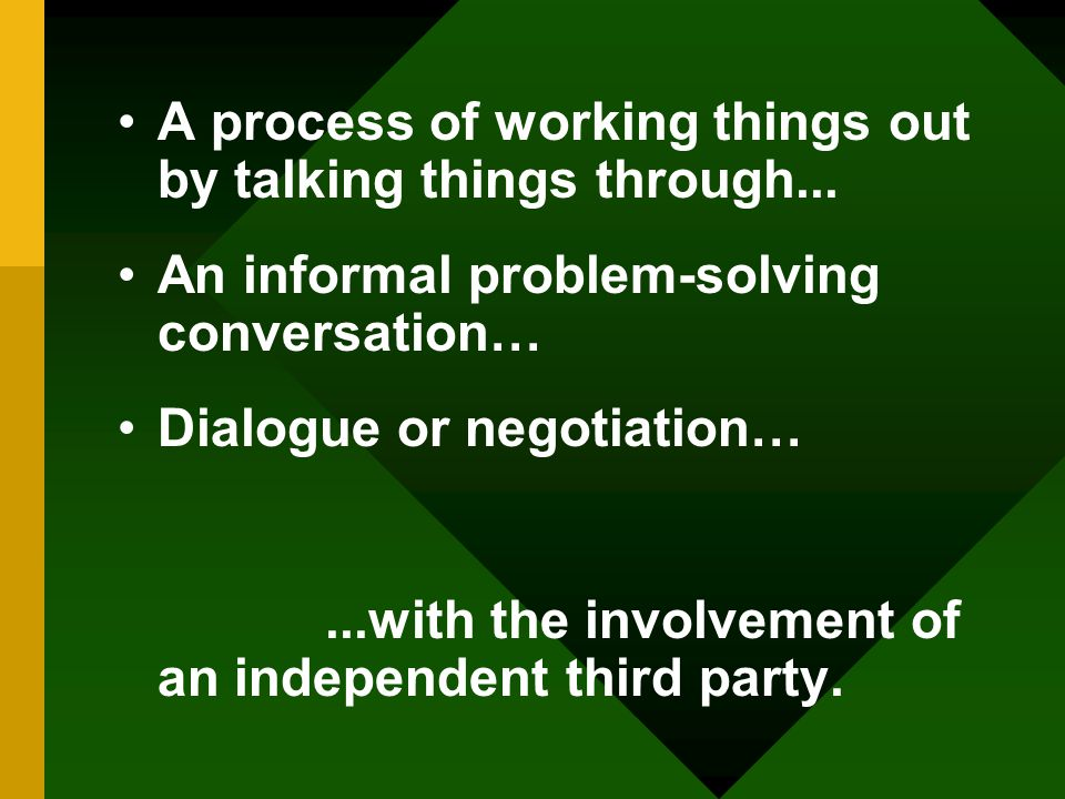 A process of working things out by talking things through...