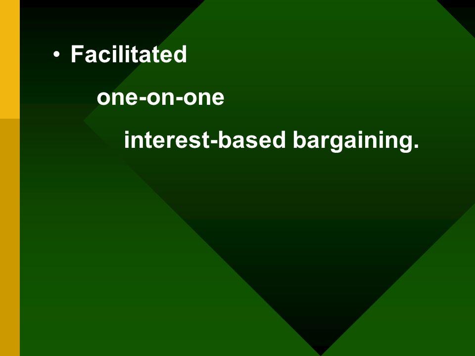 Facilitated one-on-one interest-based bargaining.