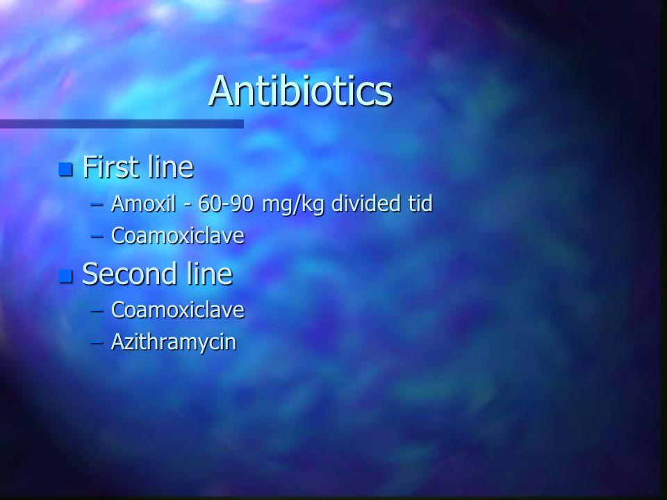 Antibiotics n First line –Amoxil - 60-90 mg/kg divided tid –Coamoxiclave n Second line –Coamoxiclave –Azithramycin