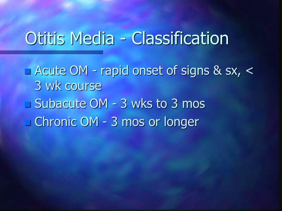 Otitis Media - Classification n Acute OM - rapid onset of signs & sx, < 3 wk course n Subacute OM - 3 wks to 3 mos n Chronic OM - 3 mos or longer