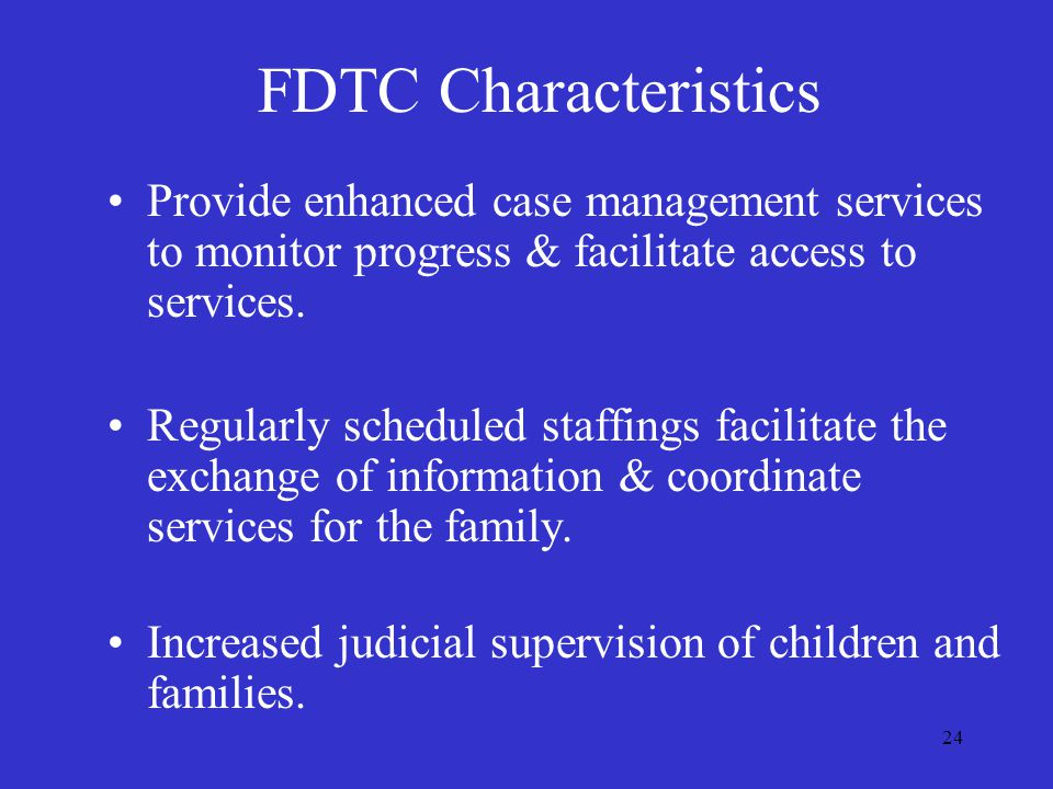 24 Provide enhanced case management services to monitor progress & facilitate access to services.