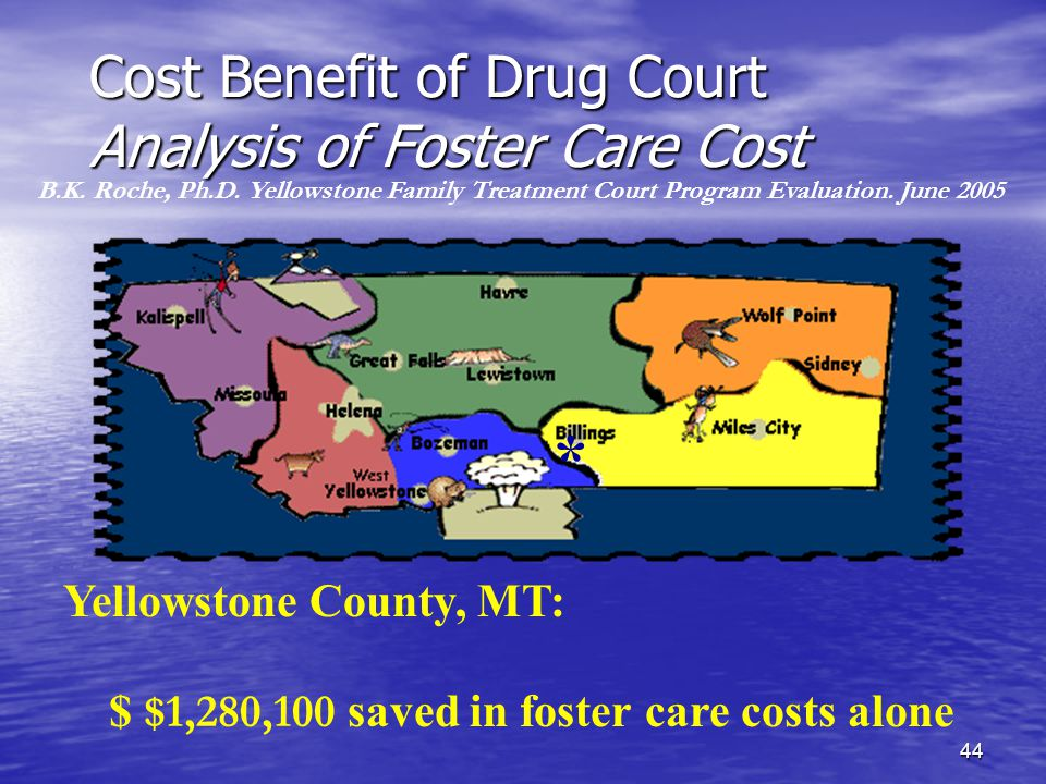 44 Cost Benefit of Drug Court Analysis of Foster Care Cost Yellowstone County, MT: $ $1,280,100 saved in foster care costs alone B.K.