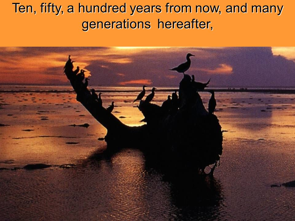 Ten, fifty, a hundred years from now, and many generations hereafter,