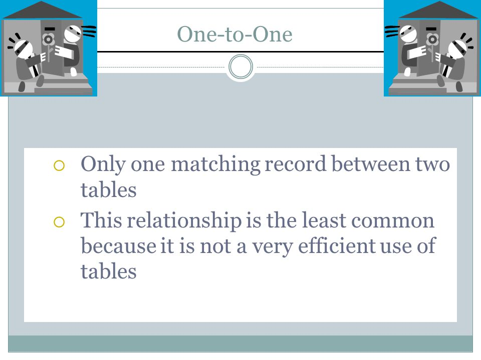One-to-One  Only one matching record between two tables  This relationship is the least common because it is not a very efficient use of tables