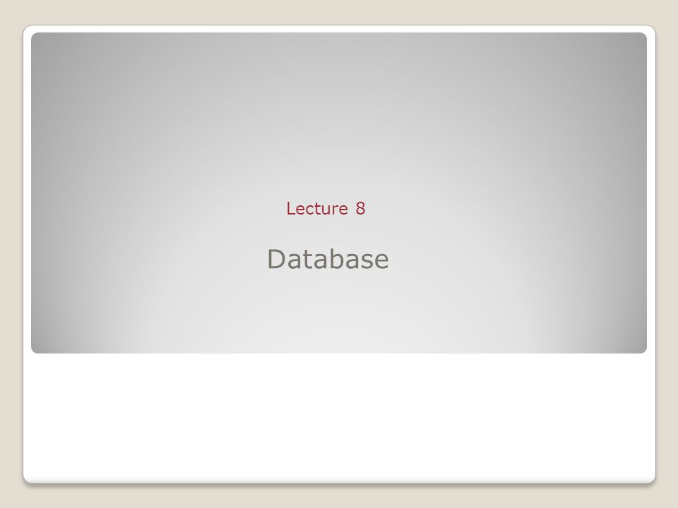 Database Lecture 8
