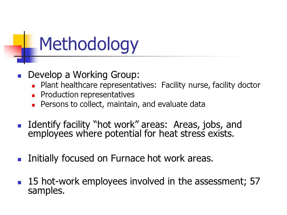 Methodology Develop a Working Group: Plant healthcare representatives: Facility nurse, facility doctor Production representatives Persons to collect, maintain, and evaluate data Identify facility hot work areas: Areas, jobs, and employees where potential for heat stress exists.
