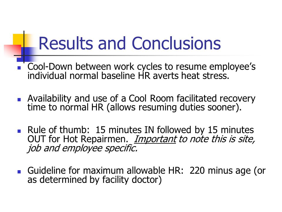 Results and Conclusions Other contributing factors to HR response to hot work conditions: Individual variation – 2 employees experienced unexplained rapid HR.
