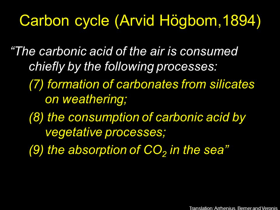 "Carbon cycle (Arvid Högbom,1894) ""The carbonic acid of the air is consumed chiefly by the following processes: (7) formation of carbonates from silica"